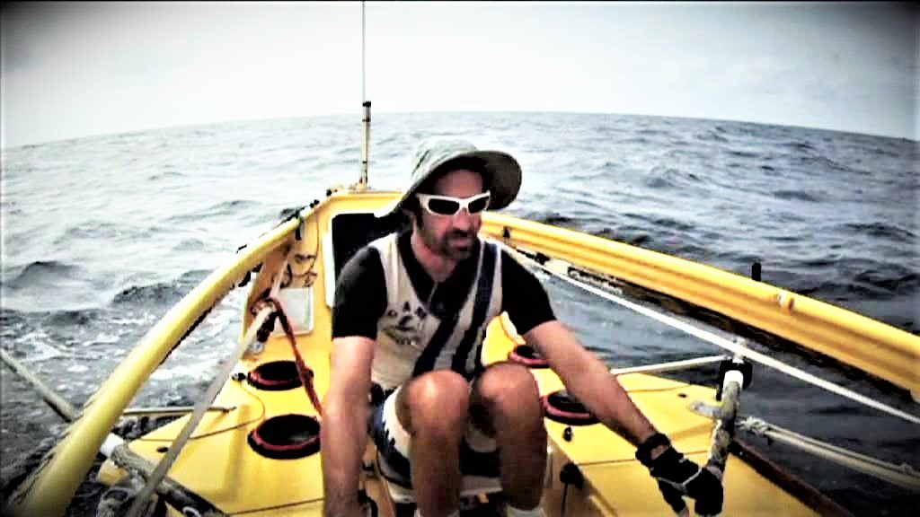 Pierre Mastalski durant sa traversée de l'Atlantique
